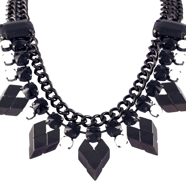 Black and White Crystal And Leather Necklace - Akollekt - 2