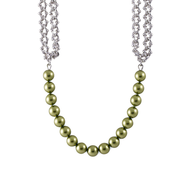 Centered Pearl Chain Necklace - Akollekt - 2