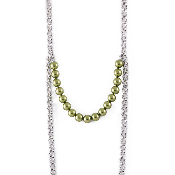 Centered Pearl Chain Necklace - Akollekt - 3