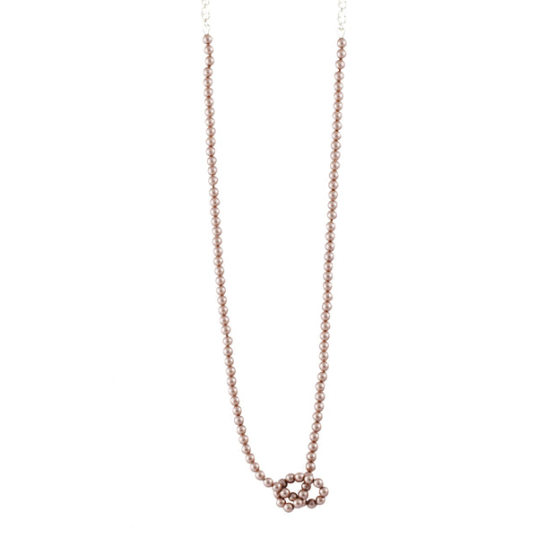Knotted Pearl Slim Chain In Almond - Akollekt - 1