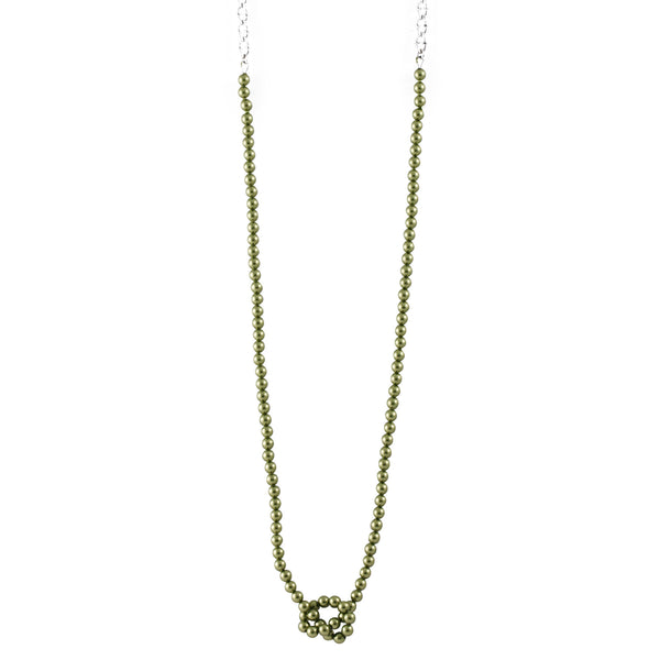 Knotted Pearl Slim Chain In Green - Akollekt - 1