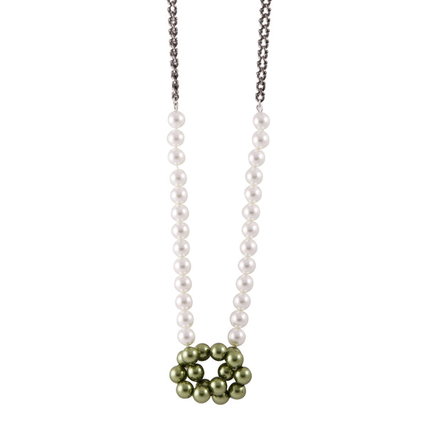 Knotted Pearl Chain Necklace In Green - Akollekt - 1