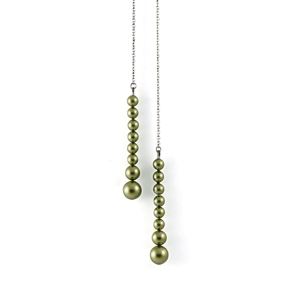 Drop Pearl Scarf Necklace In Green - Akollekt - 1
