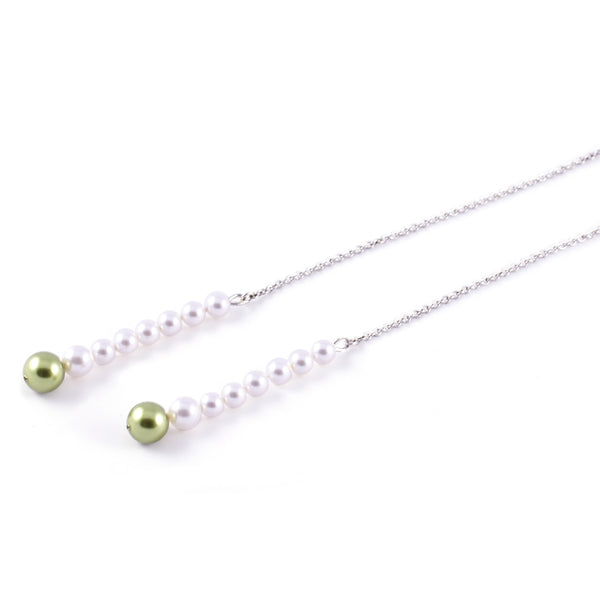 Drop Pearl Scarf Necklace In White - Akollekt - 3