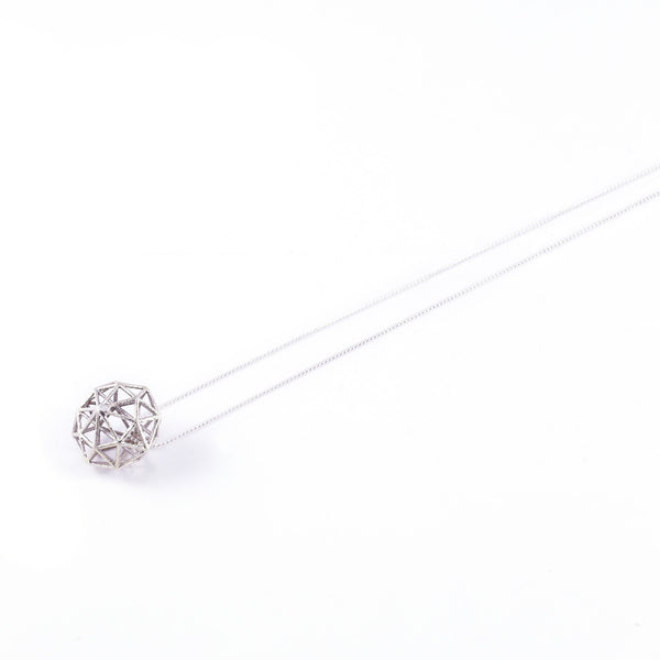 Dodecahedron Necklace In Silver - Akollekt - 2