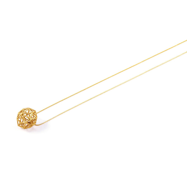 Dodecahedron Necklace In Gold - Akollekt - 2