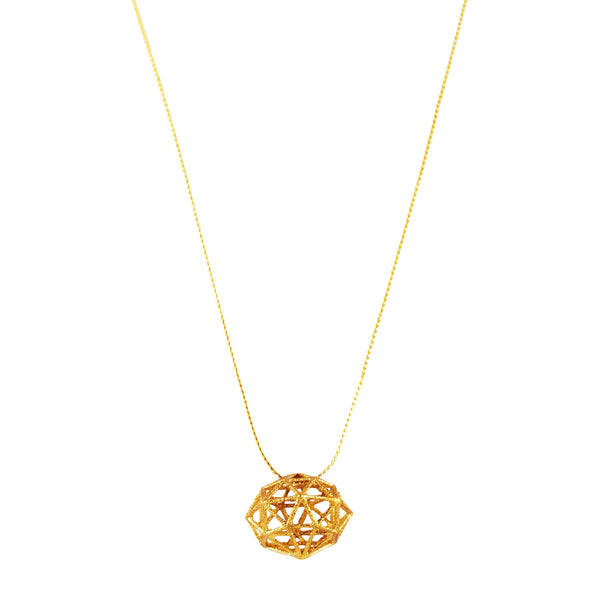 Dodecahedron Necklace In Gold - Akollekt - 1
