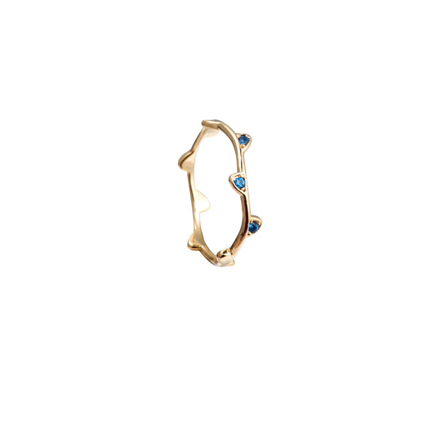 Floating leaf midi ring in blue