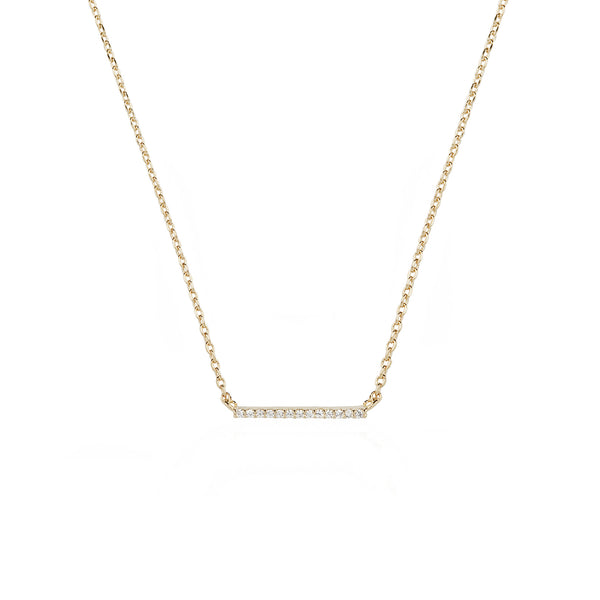 Walk the line small bar necklace in yellow gold