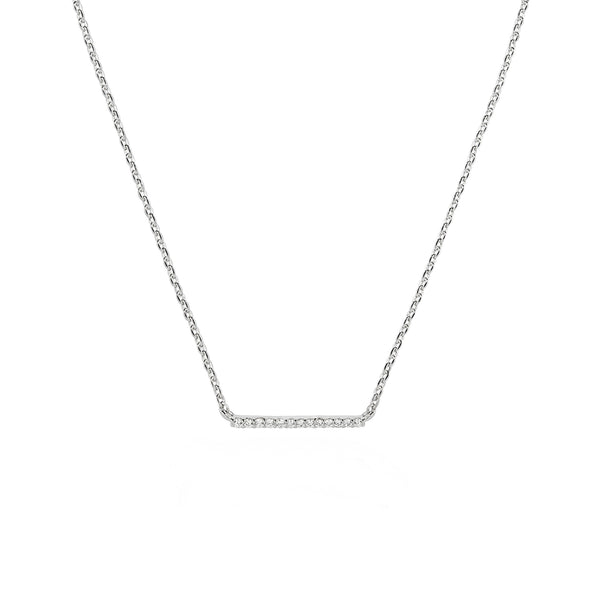 Walk the line small bar necklace in silver