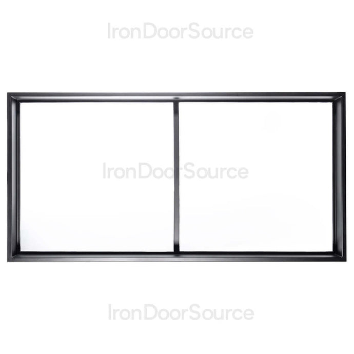 Black Steel Transom with Dual Tempered Glass from Pinky's Iron Doors