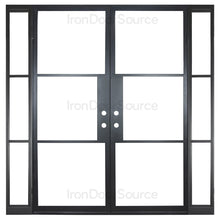 Load image into Gallery viewer, Black steel frame door with sidelights