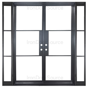 Black steel frame door with sidelights