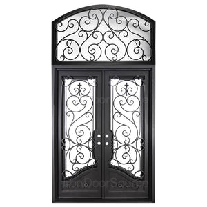 Beverly Double Flat Top - w/ Arch Transom - Iron Door Source