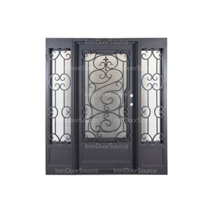 Beverly - w/ Sidelights & Screen Flat Top - Iron Door Source