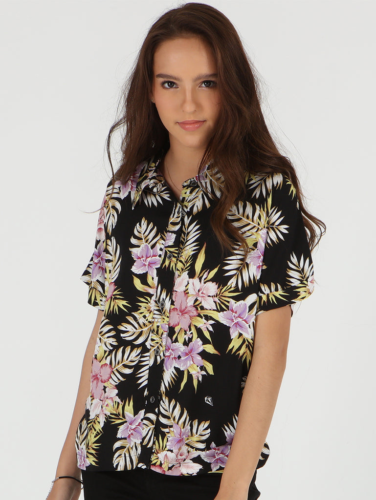 Stone Floral Sh Short Sleeve Top - Black Multi