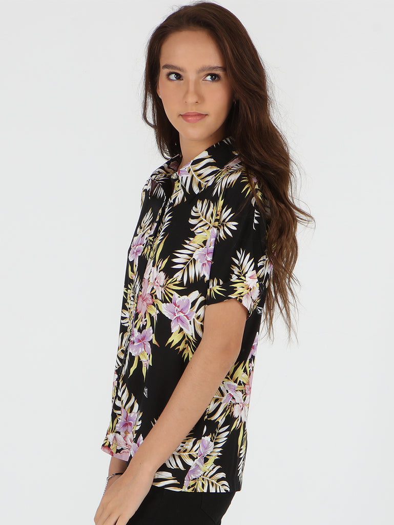 Stone Floral Short Sleeve Shirt - Black Multi