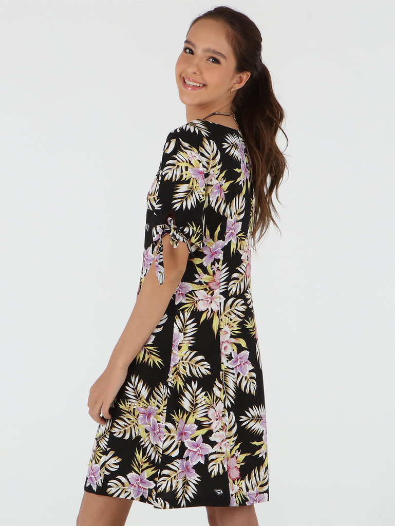 Stone Floral Dress - Black Multi