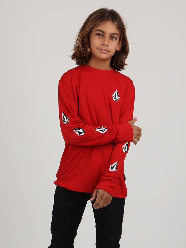 Big Boys Deadly Stone Long Sleeve Tee - Red