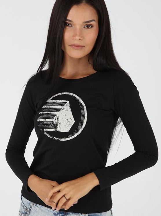 Falling Star Long Sleeve Tee - Black