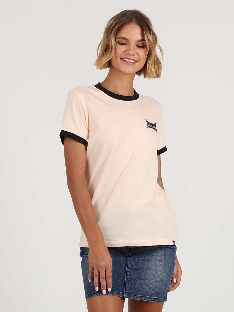 Go Faster Ringer Tee - Light Peach