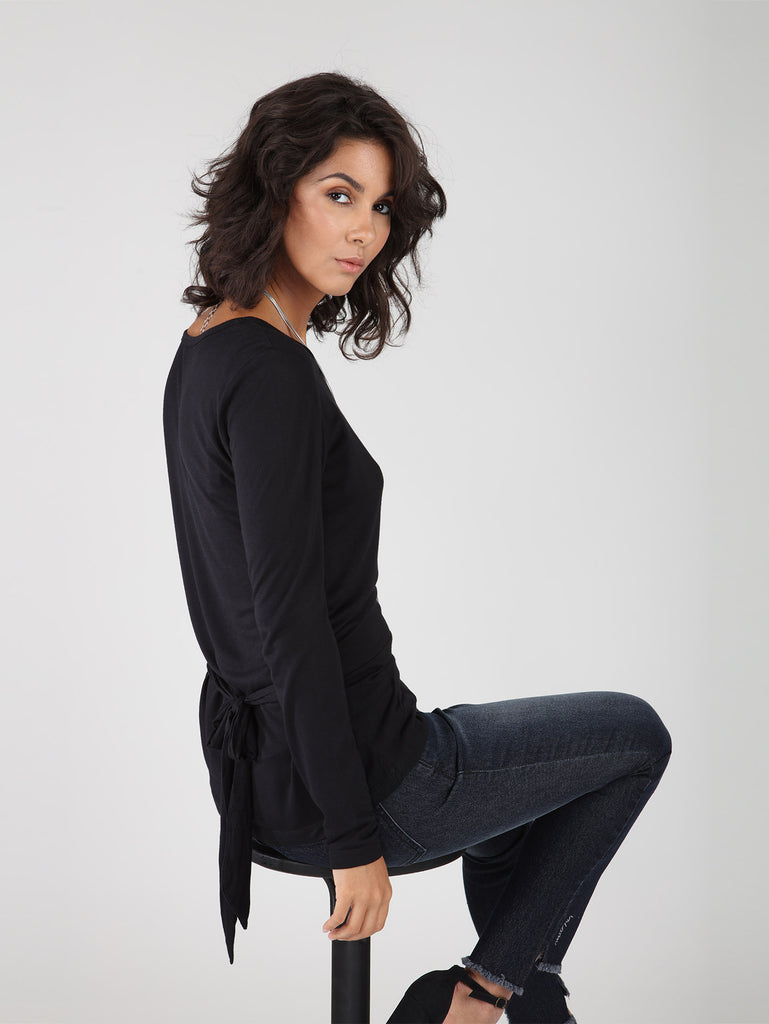 Knot Back Top - Black