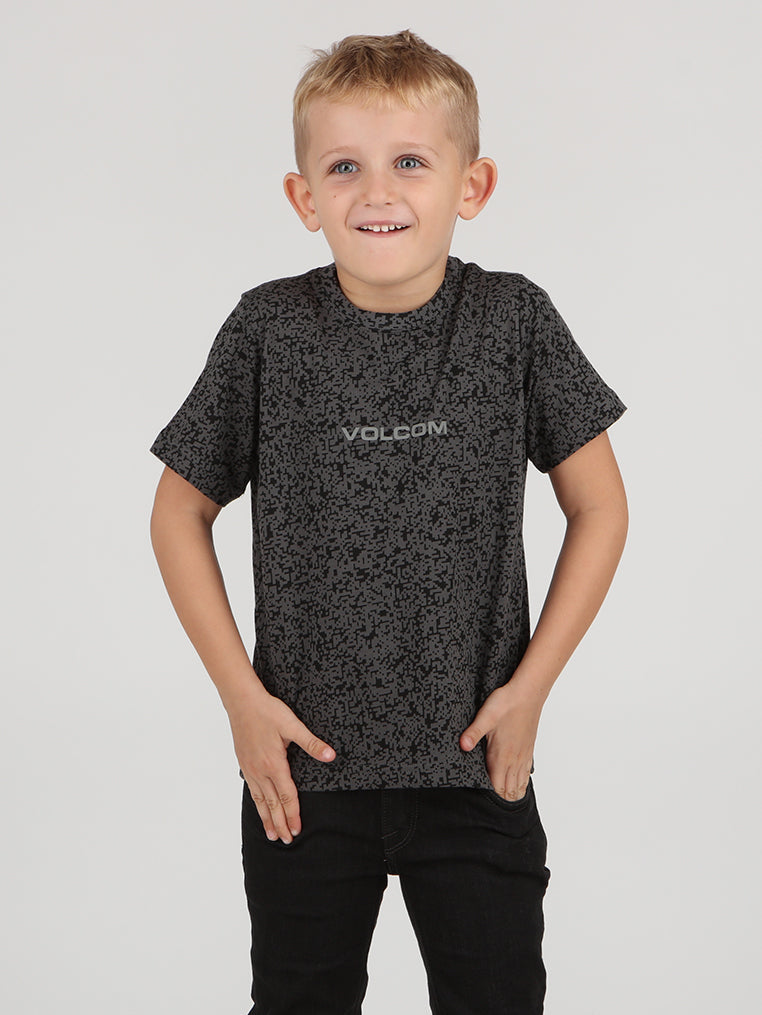 Little Boys Pixel Tee - Dark Grey