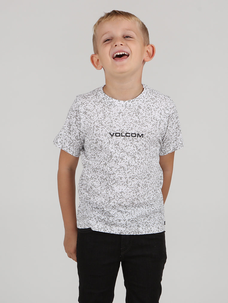 Little Boys Pixel Tee - White