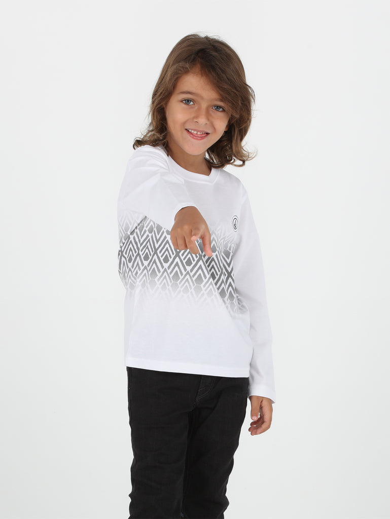 Little Boys Stone Vib Fs Long Sleeve Tee - White