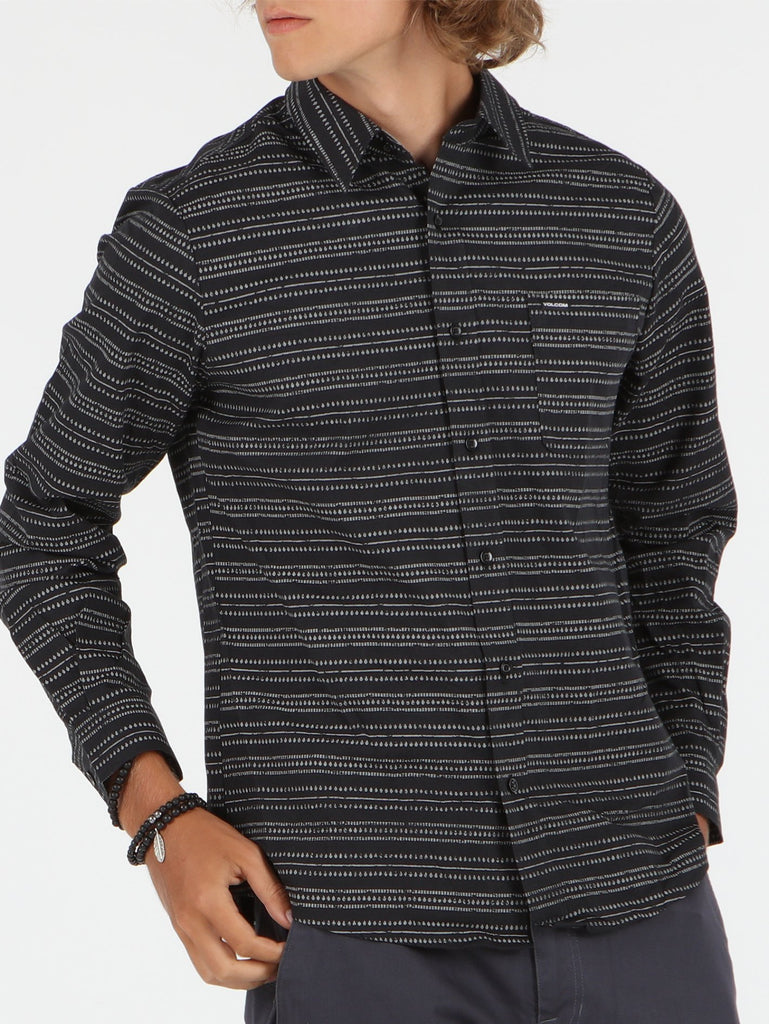 Stone Relief Long Sleeve Shirt - Black