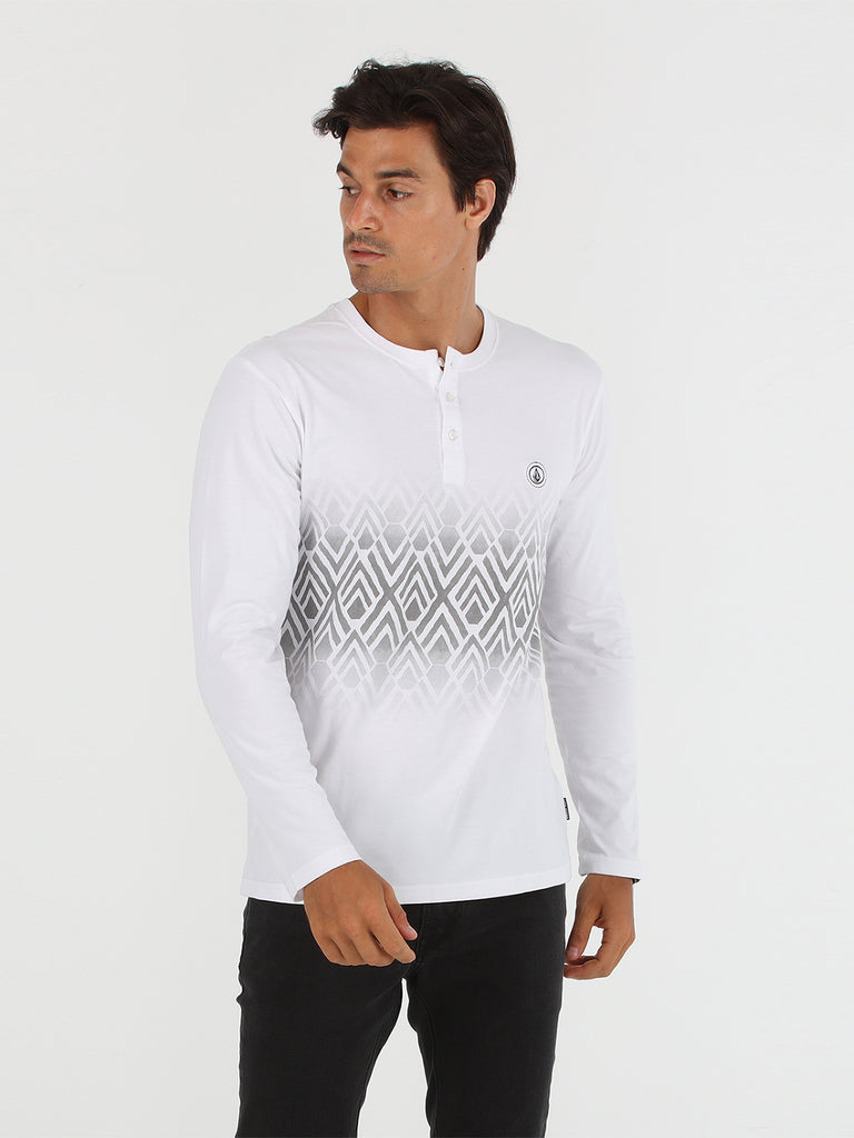 Stone Vib Henley Long Sleeve Tee - White