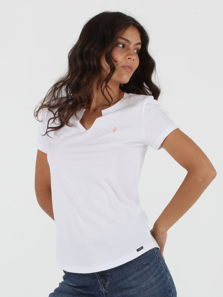 Split Solid Tee - White