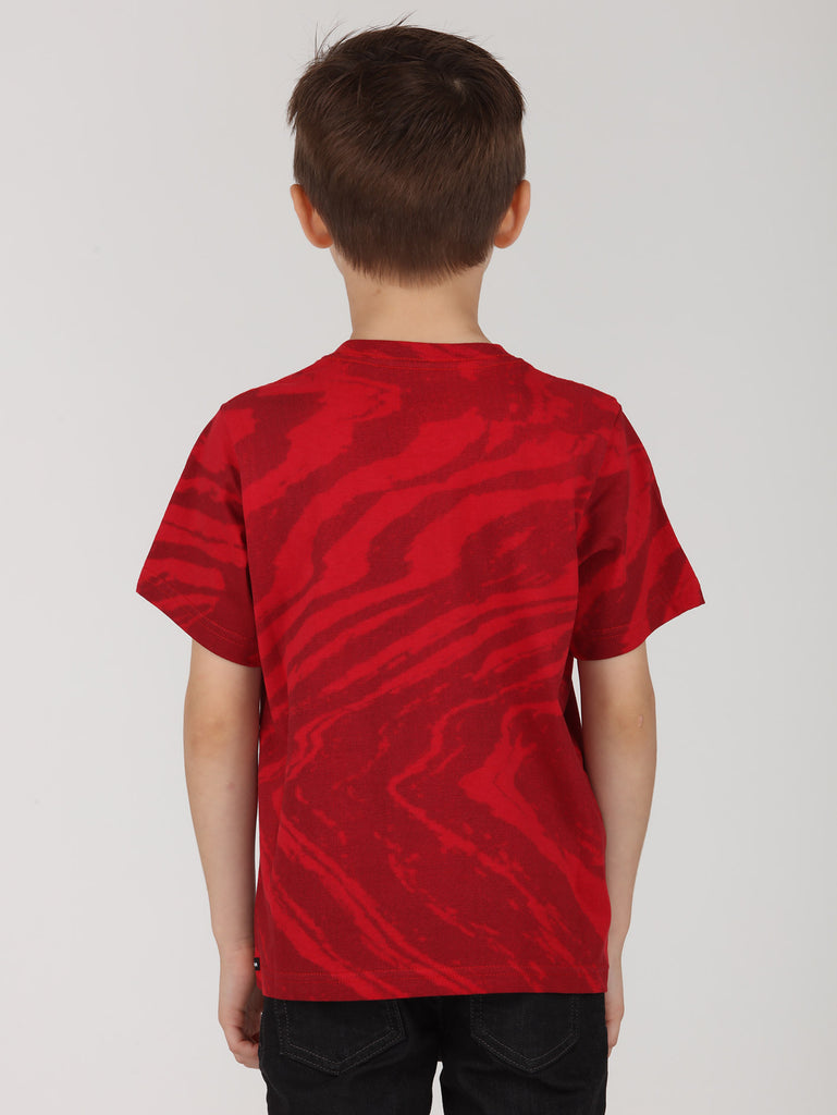Little Boys Wavy Tee - Engine Red