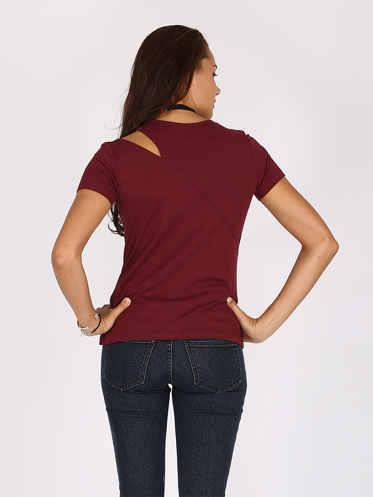 Flomingo Tunic Fashion Top - Burgundy