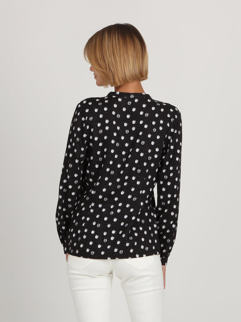 Get Blouse Long Sleeve Top - Black Print