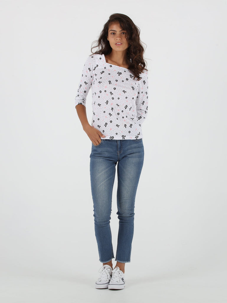 Hibiscus Short Sleeve Top - White