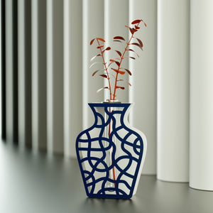 TWIST vase PEARL / SHINY NIGHT BLUE
