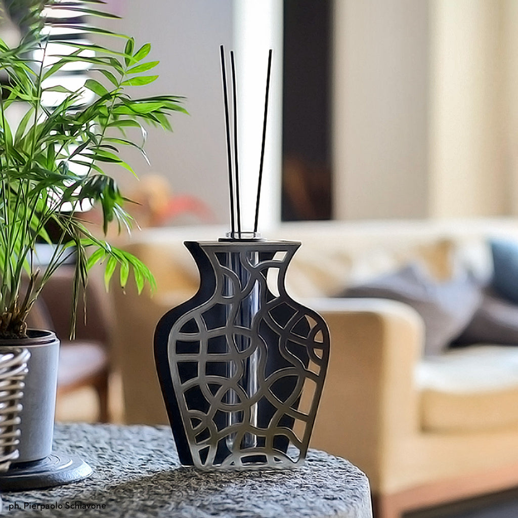 TWIST vase BLACK / CHROME