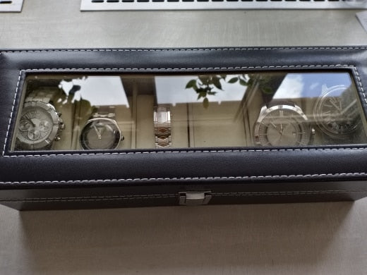 Window Organizer Box for Save 6 Wrist Watches Box Jewelry Display Case Storage Holder