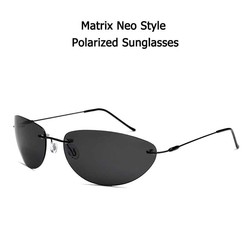 The Matrix Neo Style Polarized Sunglasses - Ultralight Rimless - UV 400 - Polarized (Matrix Neo Style)