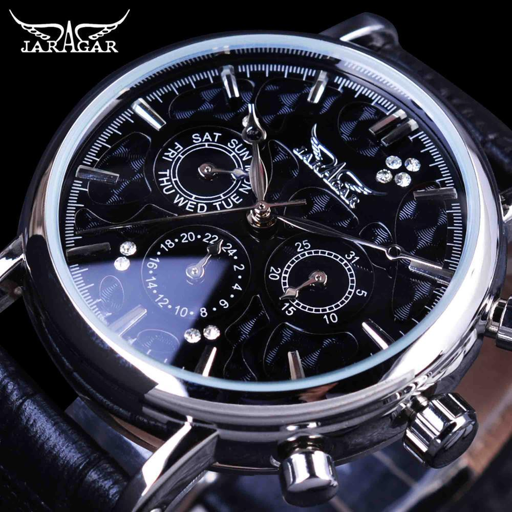 Jaragar Blue Sky Series Elegant Genuine Leather Strap Male Wrist Watch