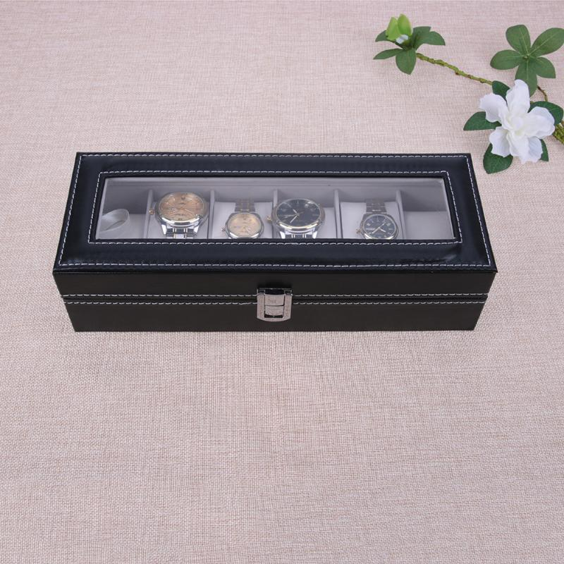 6 Slots Watch Case Box Jewelry Storage Box with Cover Case Jewelry Watches Display Holder Organizer