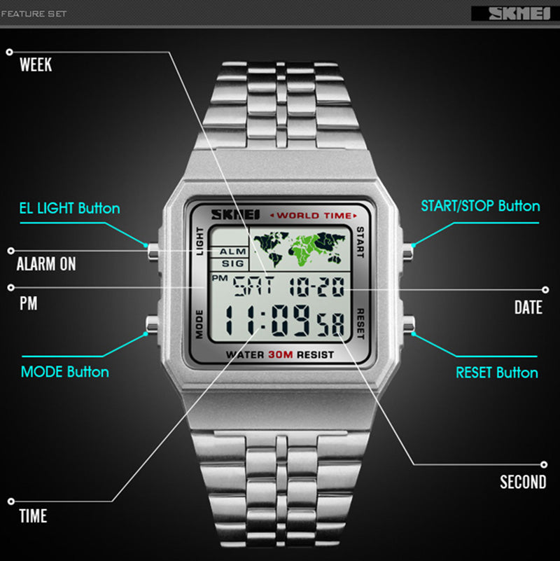 LED Digital Men's Watch Sports Watches - Stainless Steel - Waterproof