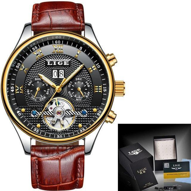 LIGE Mens Automatic Luxury Watch