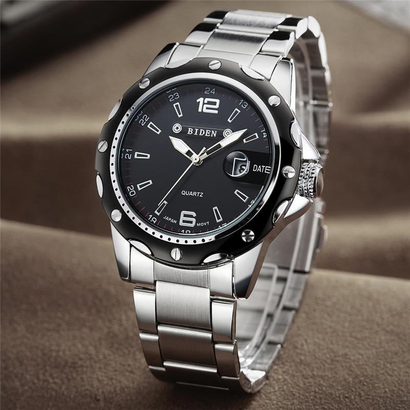 New BIDEN Top Brand Luxury Quartz Watch Men Military Sport Wristwatch Steel Strap Watches Mens Business Clock with Date-0012