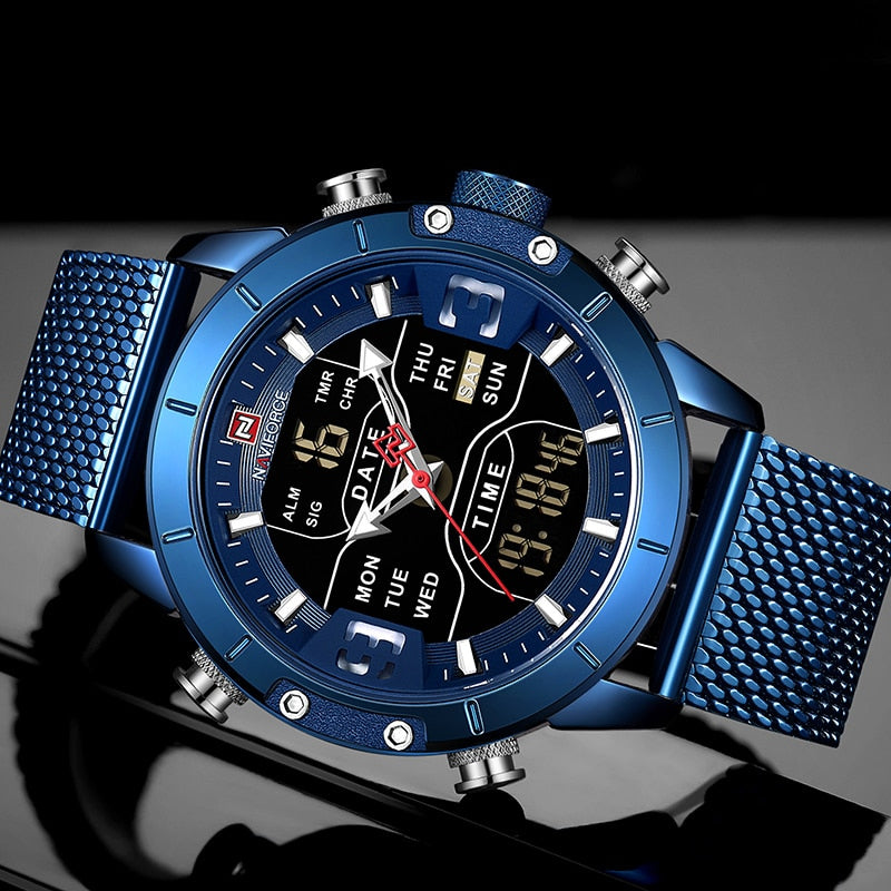 NAVIFORCE Men Watch Top Luxury Brand Mens Military Sport Quartz Wrist Watch.  Stainless Steel - LED Digital Clock - Alarm - Stop Watch - Week Display - Complete Calendar - Water Resistant - Back Light - Dial Diameter 45mm