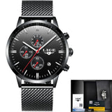 LIGE Mens Watches Fashion Top Luxury Brand Sports Watch Men Casual Waterproof Stainless Steel Quartz Watch Relogio Masculino+Box