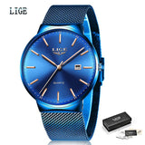 Relogio Masculino New Mens Watches LIGE Top Brand Luxury Fashion Watch Slim Mesh Date Waterproof Quartz Watch For Men Blue Clock