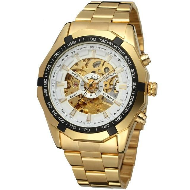Forsining Men's Full Golden Mechanical Skeleton Watch