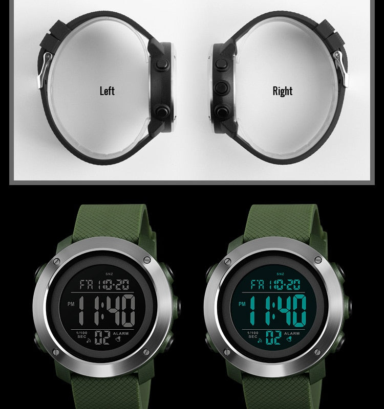 Mens Waterproof LED Digital Watch